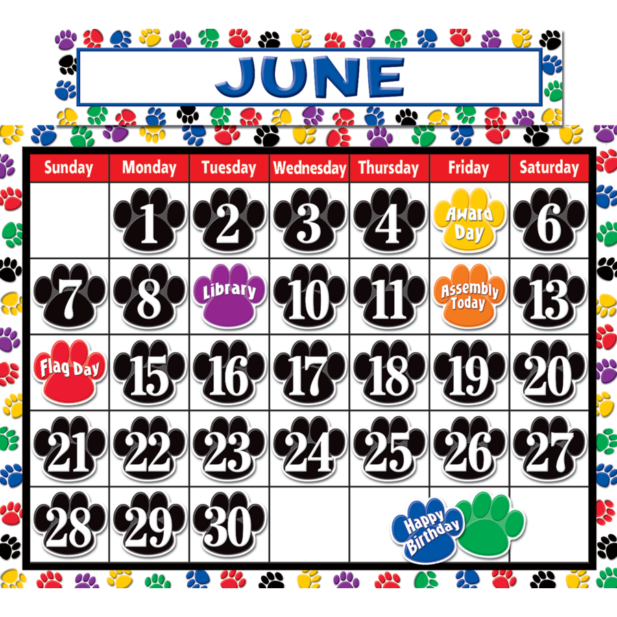 Calendar Poster For Classroom : Colorful paw prints calendar bulletin board display set