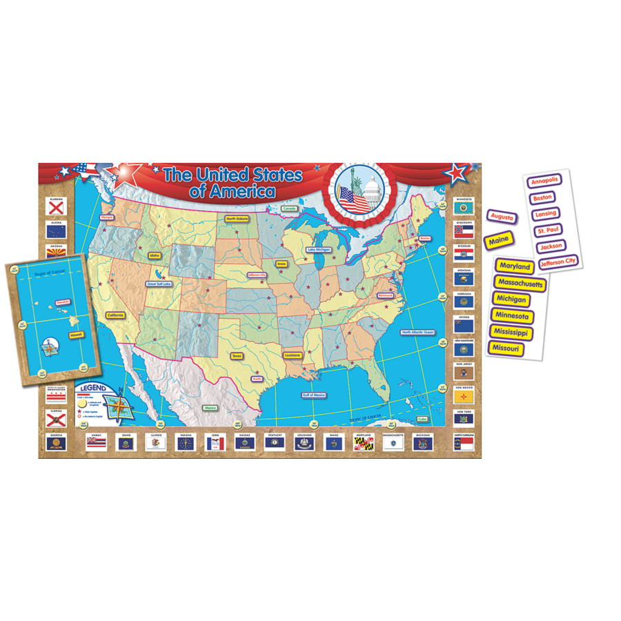 US Map Repositionable Bulletin Board Display Set TCR4403