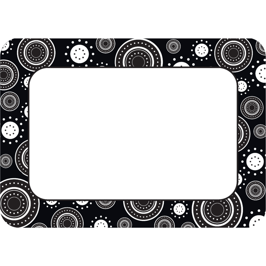 Black White Crazy Circles Name Tags Labels Tcr5169