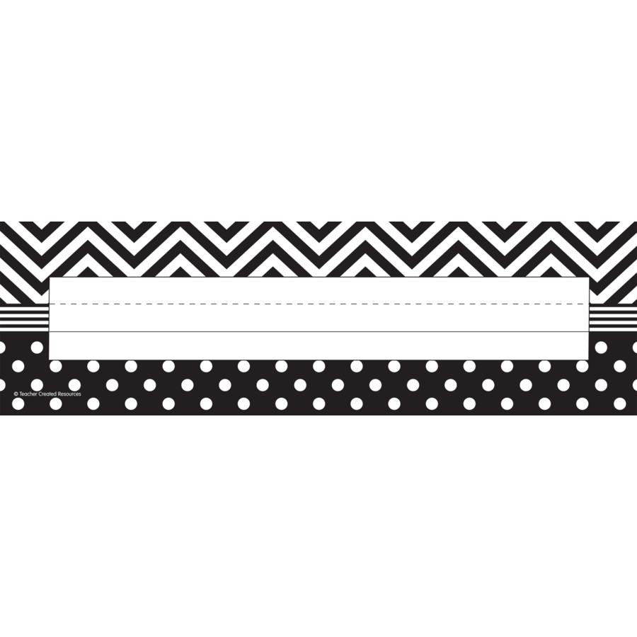 Black Amp White Chevrons And Dots Flat Name Plates Tcr5549