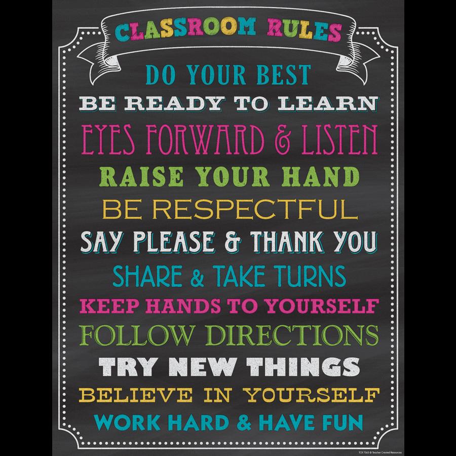 chalkboard brights classroom rules chart   tcr7565