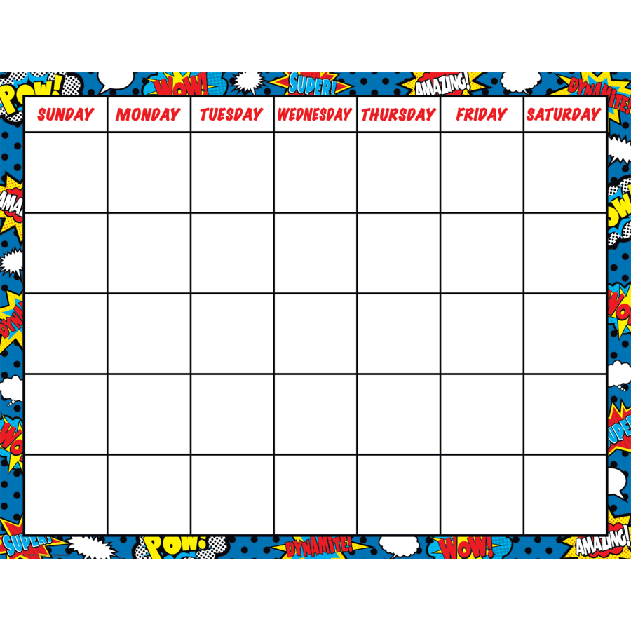 Superhero Calendar Chart - TCR7569 | Teacher Created Resources