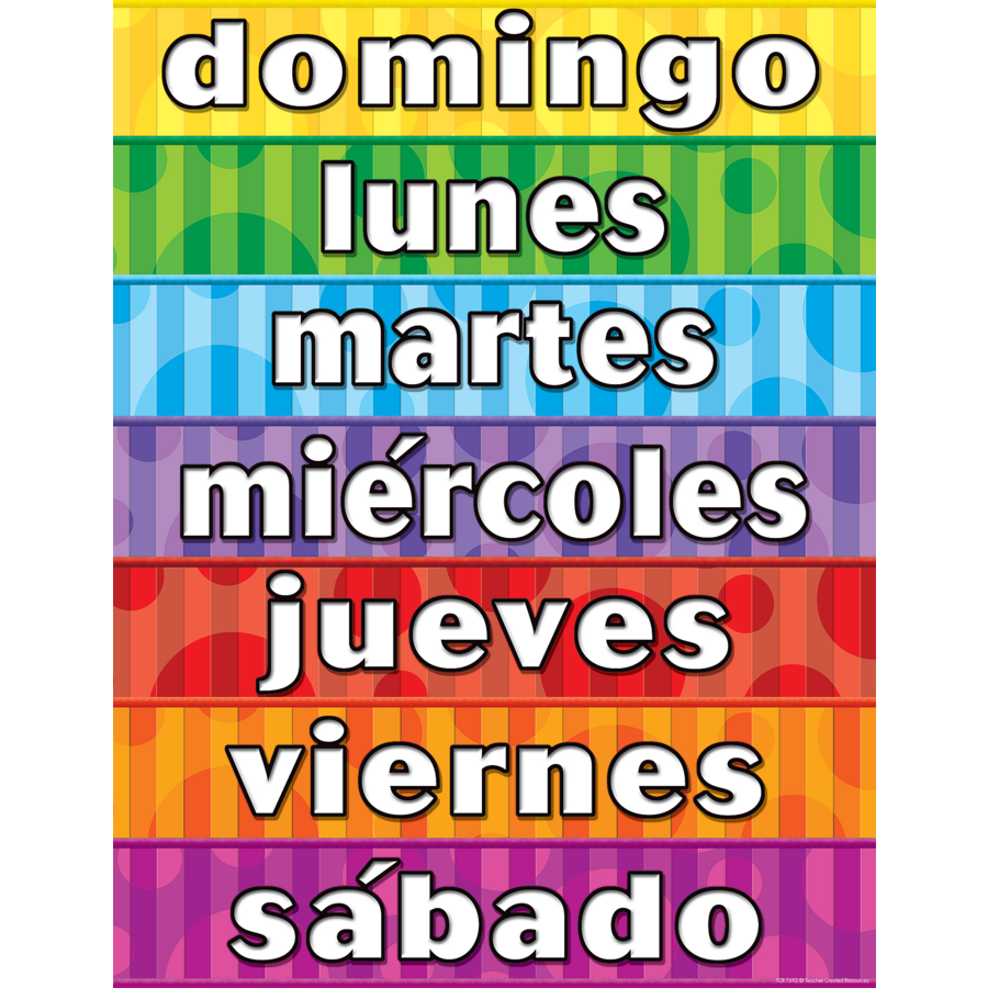 Days of the Week (Spanish) Chart - TCR7692 | Teacher Created Resources