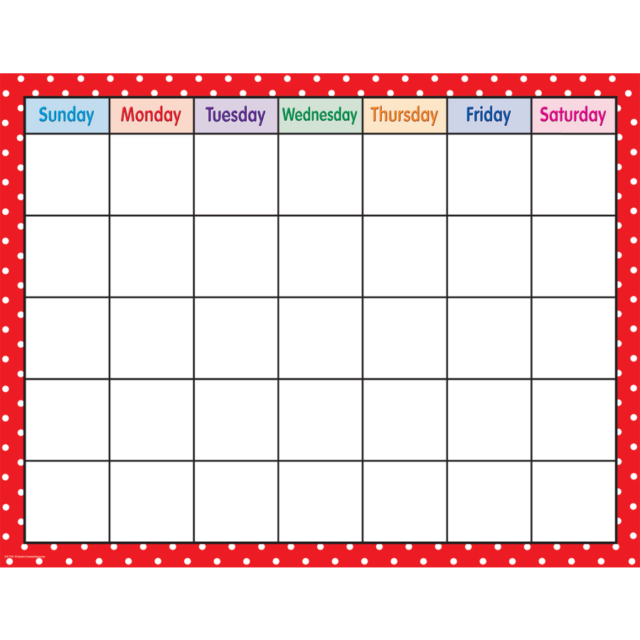 Blank Calendar Clipart Black And White : Red polka dots calendar chart tcr teacher created