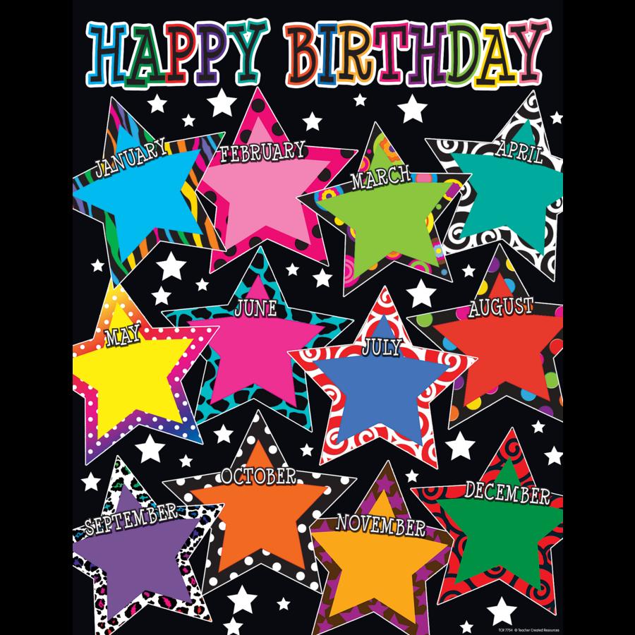 Fancy Stars Happy Birthday Chart TCR7754 Teacher Created Resources