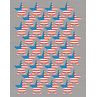 TCR4210 Large Flag Stars Foil Stickers