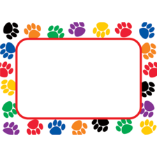 Colorful Paw Prints Name Tags/Labels