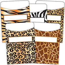 Animal Prints Library Pockets - Multi-Pack