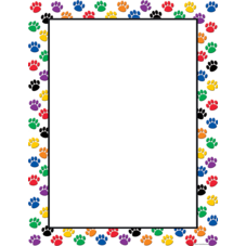 Colorful Paw Prints Blank Chart