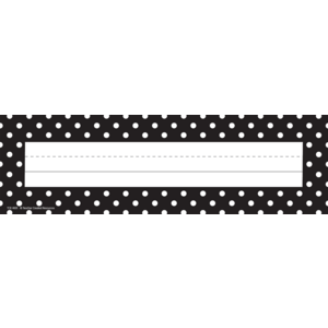TCR4001 Black Polka Dots Flat Name Plates Image