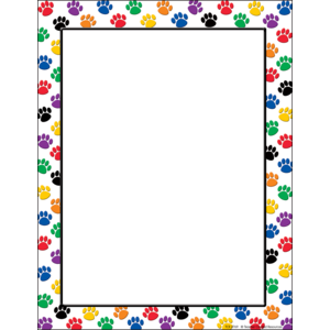 TCR4769 Colorful Paw Prints Computer Paper Image