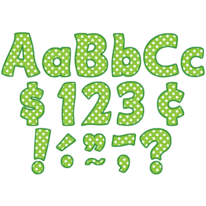 """TCR5345 Lime Polka Dots Funtastic 4"""" Letters Combo Pack Image"""