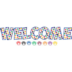 TCR5439 Paw Prints WELCOME Bulletin Board Display Set Image