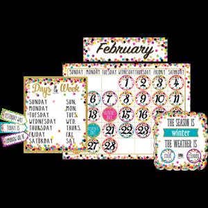 TCR5443 Confetti Calendar Bulletin Board Display Image