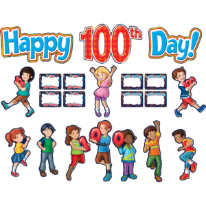 TCR5519 Fireworks Happy 100th Day Bulletin Board Display Set Image