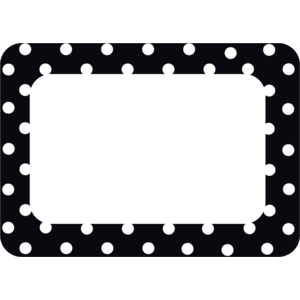 TCR5538 Black Polka Dots 2 Name Tags/Labels Image