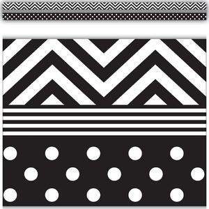 TCR5543 Black & White Chevrons and Dots Straight Border Trim Image