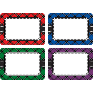 TCR5665 Plaid Name Tags/Labels Multi-Pack Image