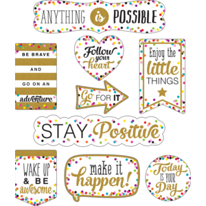 TCR77326 Clingy Thingies Confetti Positive Sayings Accents Image