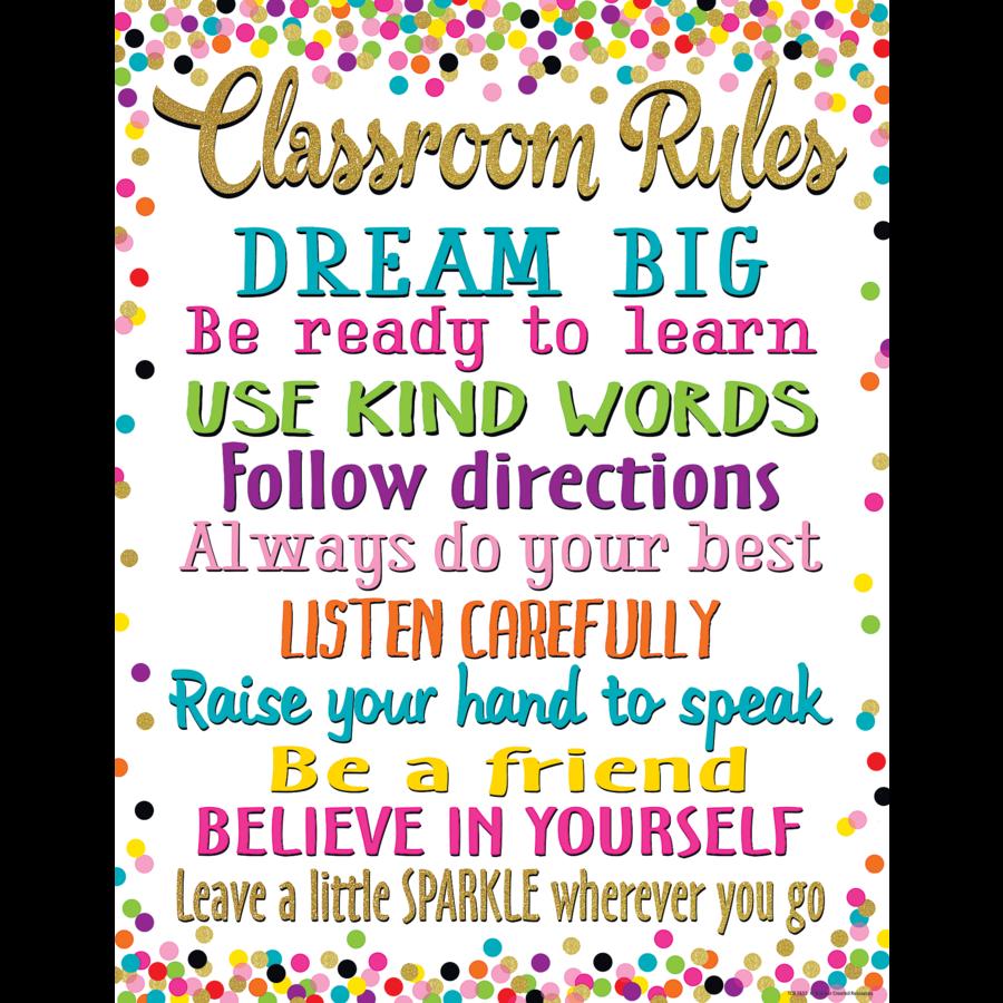 Confetti Classroom Rules Chart Tcr7553 Teacher Created