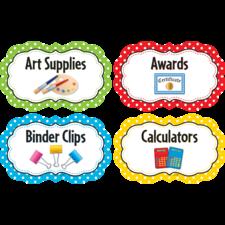 Polka Dots Classroom Supply Labels