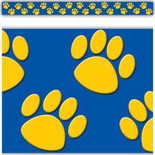 Gold/Blue Paw Prints Straight Border Trim