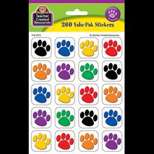 Colorful Paw Prints Stickers Valu-Pak