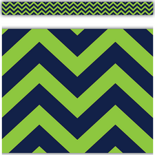 Navy & Lime Chevron Straight Border Trim