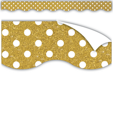 Clingy Thingies Gold with White Polka Dots Borders