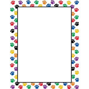 TCR7687 Colorful Paw Prints Blank Chart Image