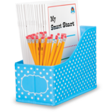 Aqua Polka Dots Book Bin