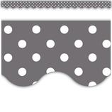 Gray Polka Dots Scalloped Border Trim