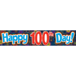 Fireworks Happy 100th Day Banner