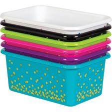 Assorted Confetti Small Plastic Storage Bins Set 6-Pack
