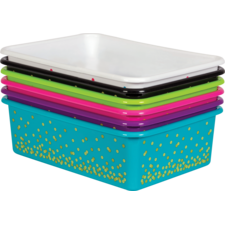 Assorted Confetti Large Plastic Storage Bins Set 6-Pack