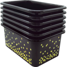 Black Confetti Small Plastic Storage Bins 6-Pack