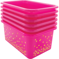Pink Confetti Small Plastic Storage Bins 6-Pack