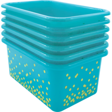 Teal Confetti Small Plastic Storage Bins 6-Pack