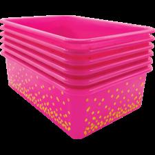Pink Confetti Large Plastic Storage Bins 6-Pack