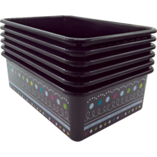 Chalkboard Brights Large Plastic Storage Bins 6-Pack