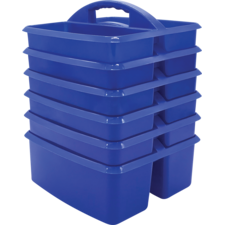 Blue Plastic Storage Caddies 6-Pack