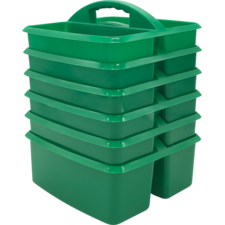 Green Plastic Storage Caddies 6-Pack