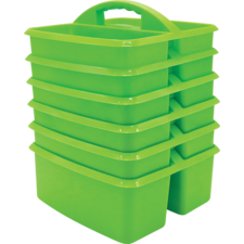 Lime Plastic Storage Caddies 6-Pack