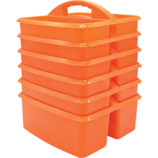 Orange Plastic Storage Caddies 6-Pack