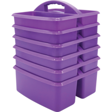 Purple Plastic Storage Caddies 6-Pack