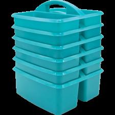 Teal Plastic Storage Caddies 6-Pack