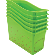 Lime Confetti Plastic Book Bins 6-Pack