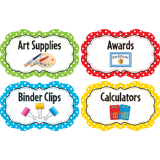 Polka Dots Classroom Supply Labels