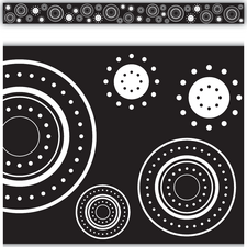 Black/White Crazy Circles Straight Border Trim