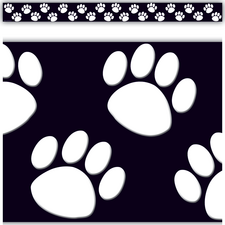 Black with White Paw Prints Straight Border Trim